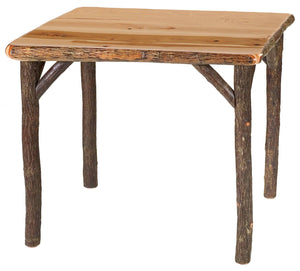Natural Hickory Log Game Table Square 36-42 Inch - Armor Finish - Rustic Deco Incorporated