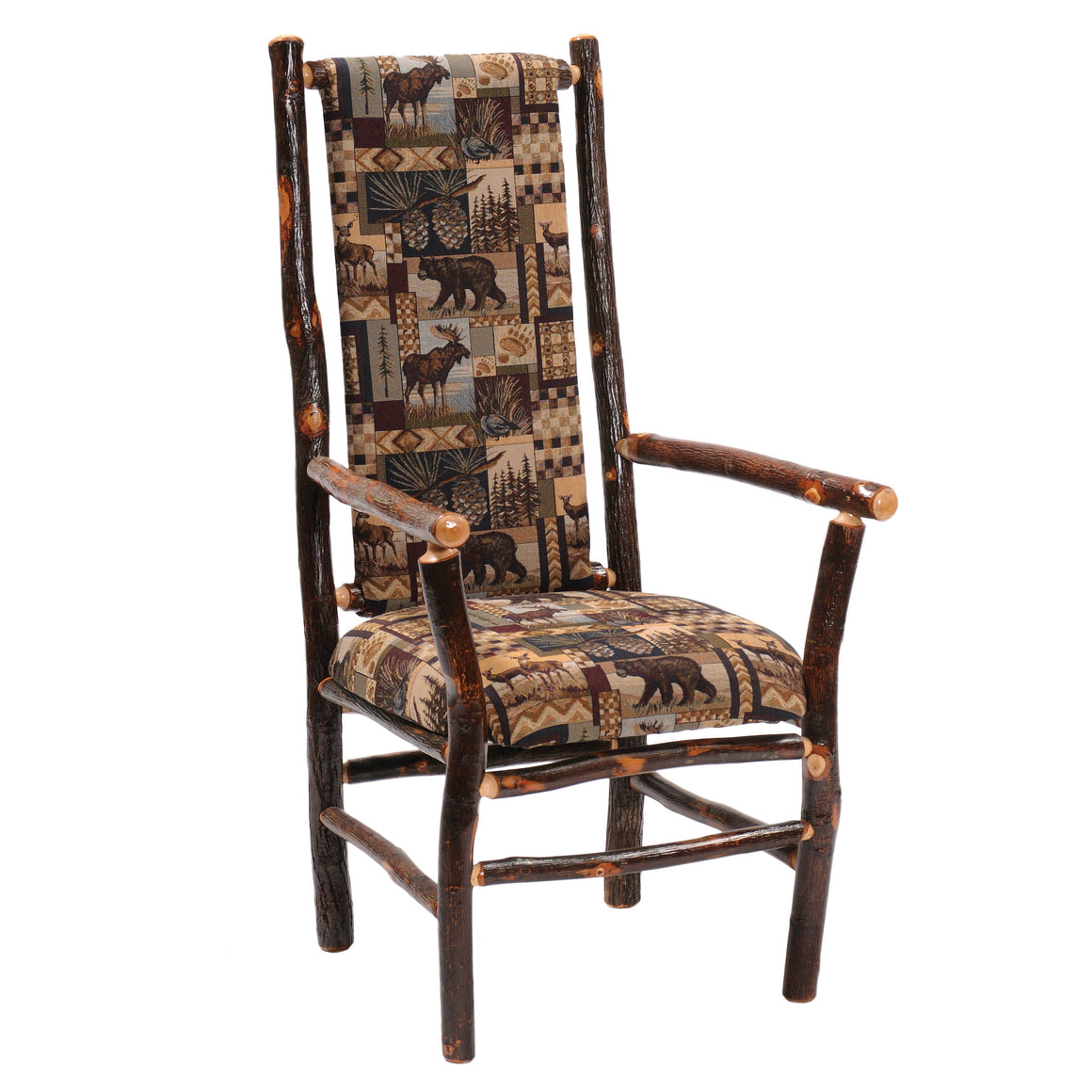 Natural Hickory Log High-back Upholstered Arm Chair - Standard Finish - Rustic Deco Incorporated