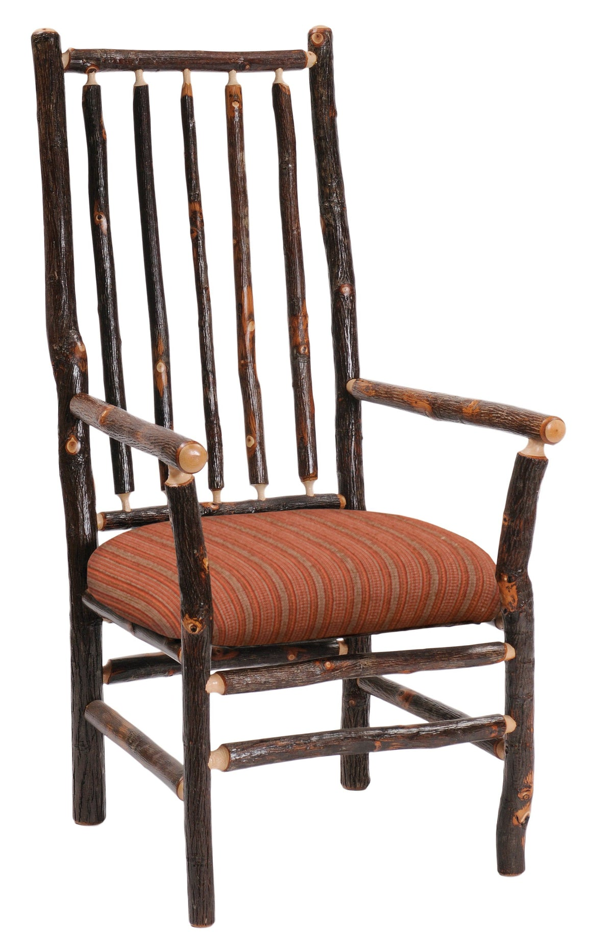 Natural Hickory Log High-back Spoke Arm Chair - Upholstered Seat-Rustic Deco Incorporated