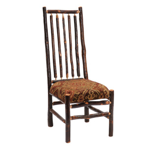 Natural Hickory Log High-back Spoked Chair Custom Upholstered-Rustic Deco Incorporated