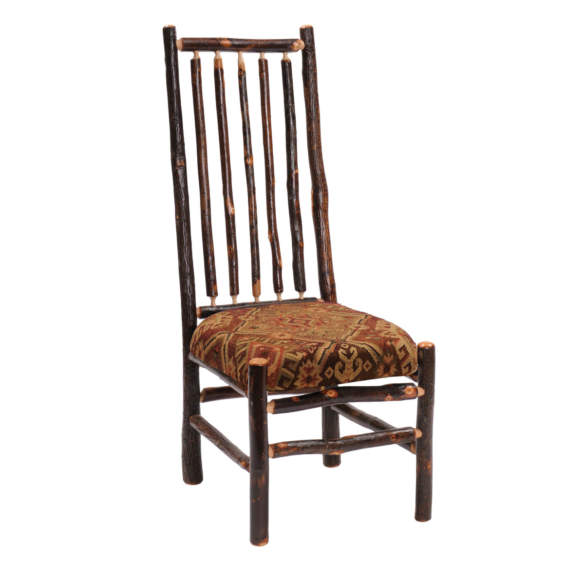 Natural Hickory Log High-back Spoked Chair Custom Upholstered - Rustic Deco Incorporated