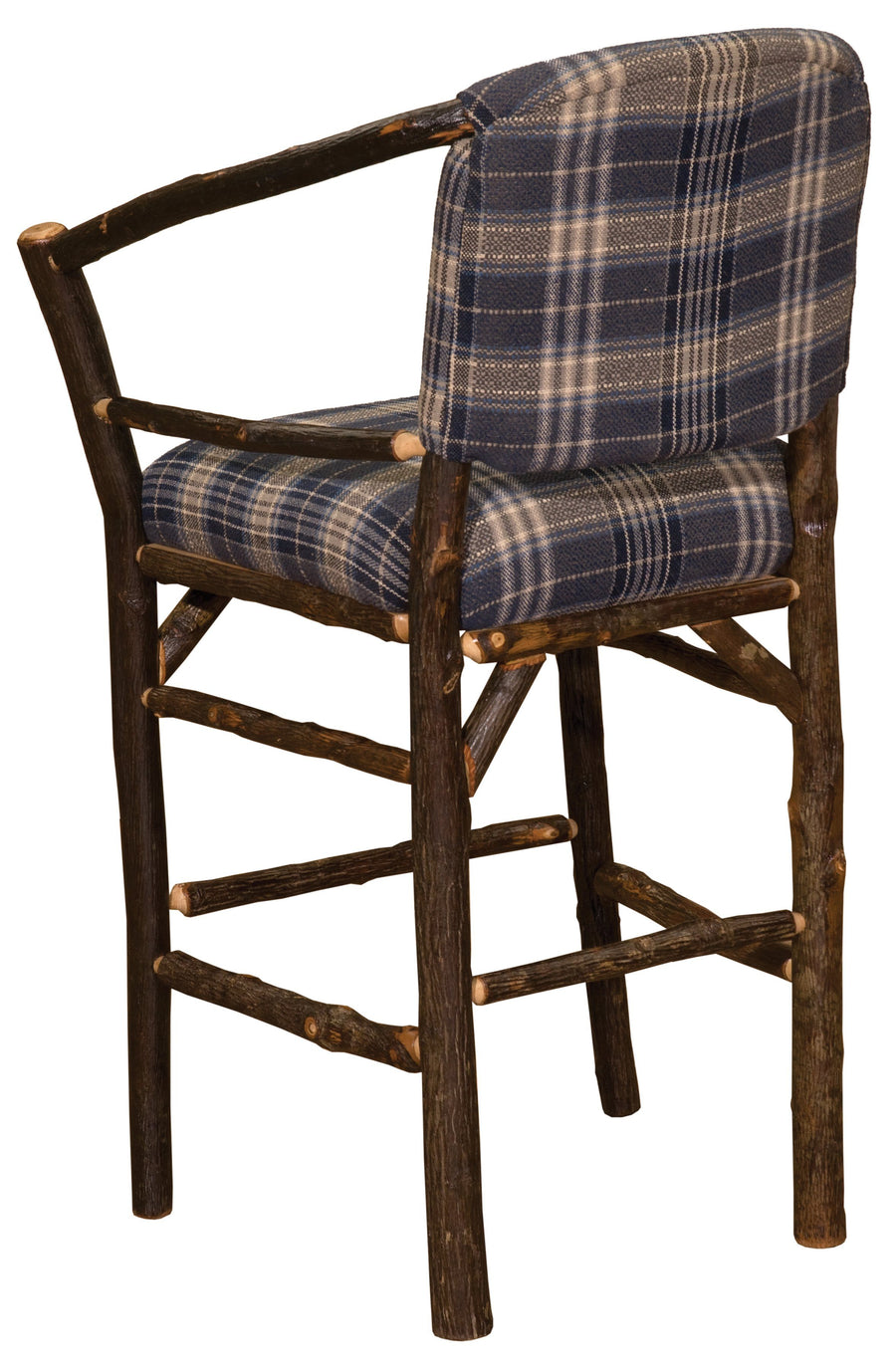 "Natural Hickory Log Hoop Bar Stool Chair - Custom Upholstered - 30"" - Rustic Deco Incorporated"