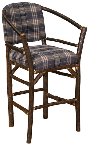 "Natural Hickory Log Hoop Bar Stool - 30"" high - With Upholstered Seat - Standard Finish Stool Fireside Lodge Customer's Own Material"