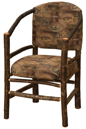 Natural Hickory Log Hoop Chair with Upholstered Seat & Back - Rustic Deco Incorporated