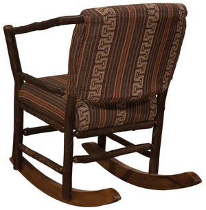 Natural Hickory Log Hoop Rocking Chair with Upholstered Seat & Back Chair Fireside Lodge