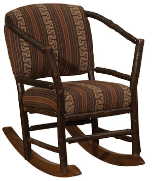 Natural Hickory Log Hoop Rocking Chair with Upholstered Seat & Back-Rustic Deco Incorporated
