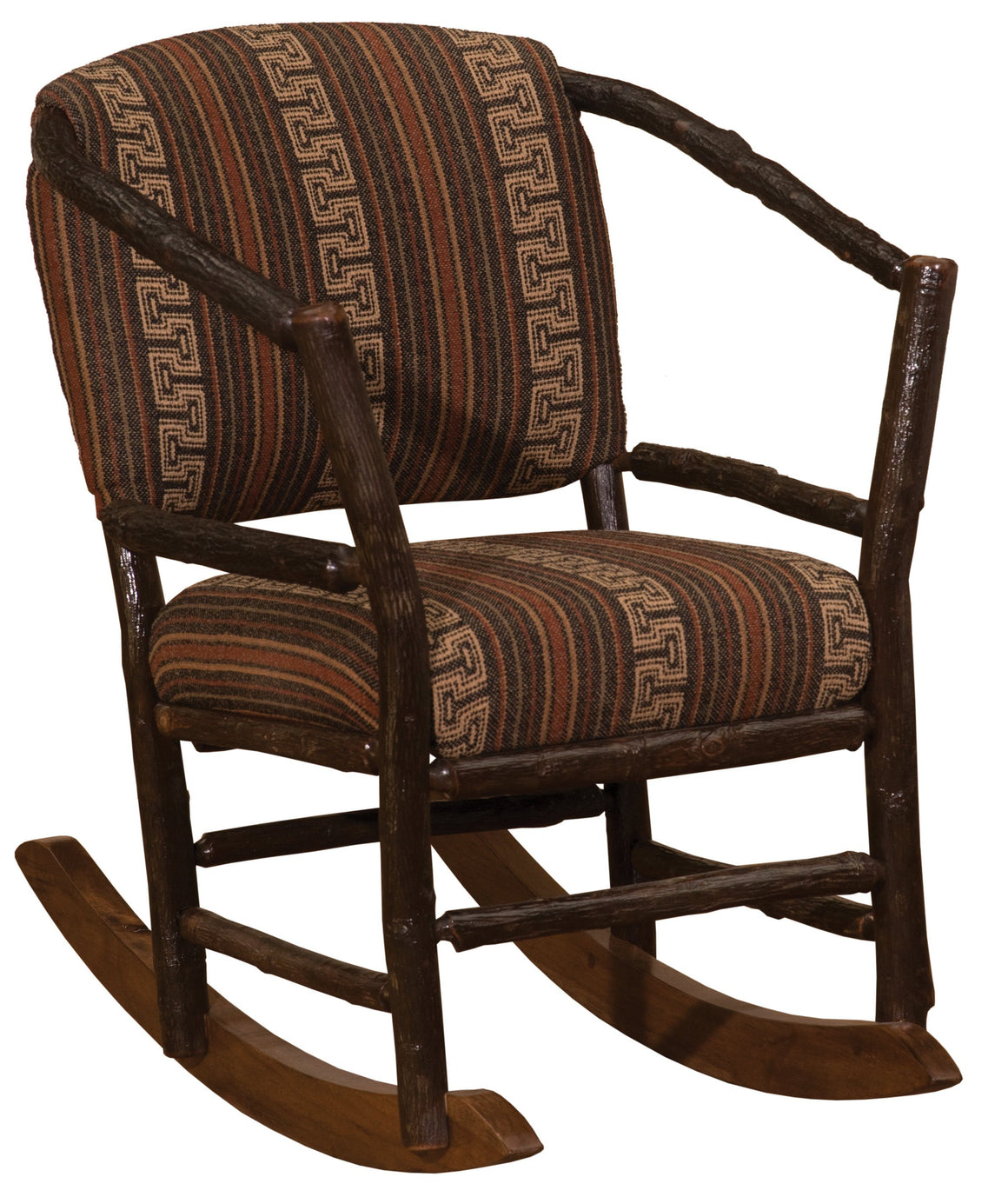 Natural Hickory Log Hoop Rocking Chair with Upholstered Seat & Back - Rustic Deco Incorporated