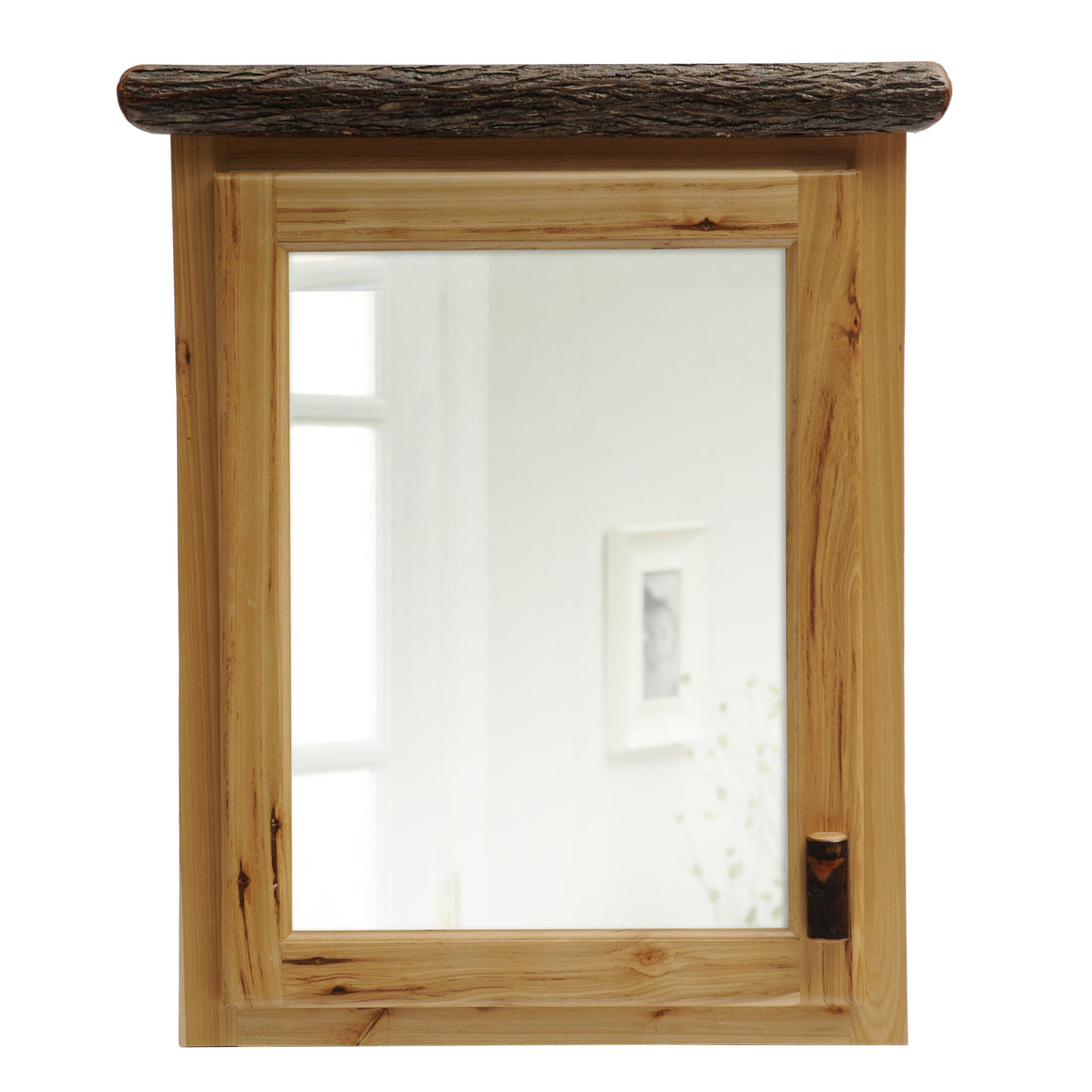 Natural Hickory Log Medicine Cabinet- 27-33 Inch - Hinged Left and Hinge Right - Rustic Deco Incorporated