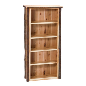 Natural Hickory Log Medium Bookshelf - Standard Finish Bookcase Fireside Lodge Natural Hickory