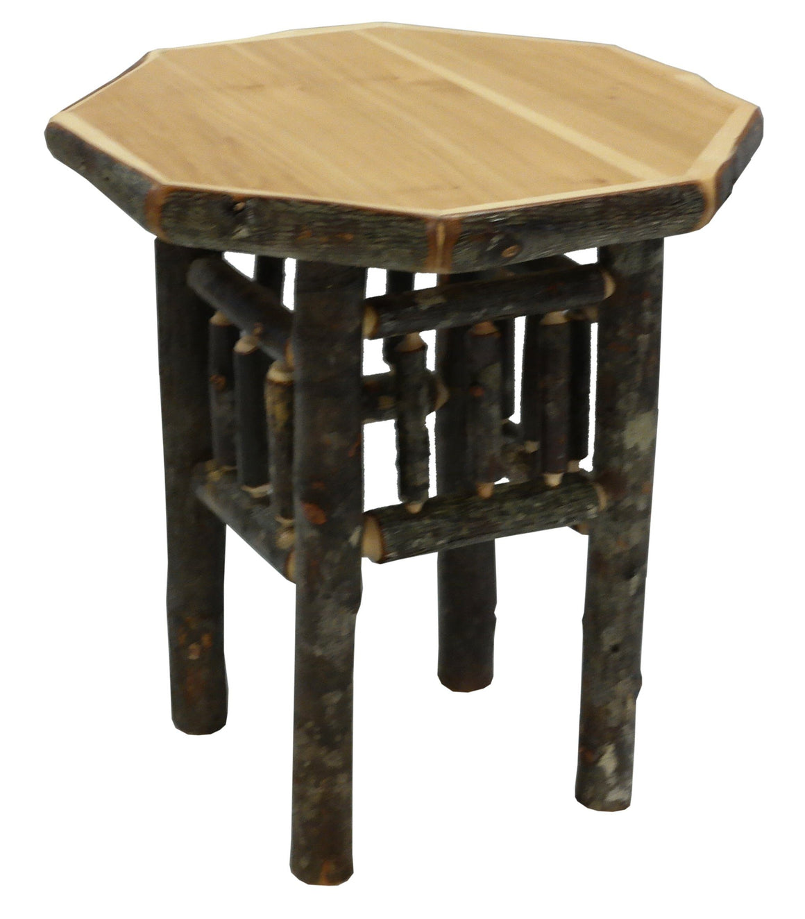 Natural Hickory Log Octagon End Accent Table - Authentic Custom USA-Rustic Deco Incorporated