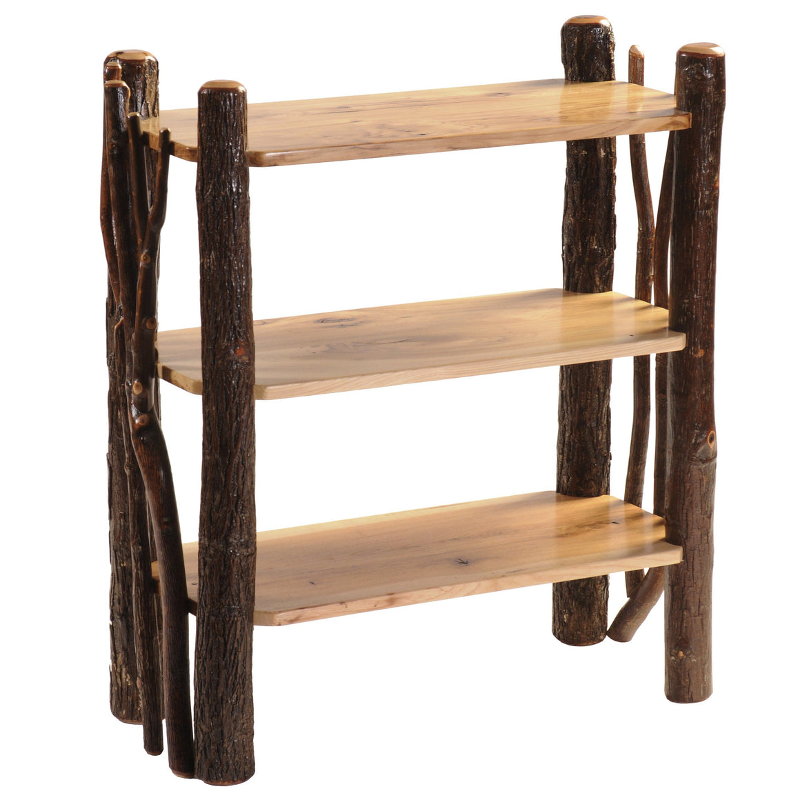 Natural Hickory Log Open Bookshelf with Twig Accents Bookcase Fireside Lodge Natural Hickory