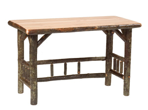 Natural Hickory Log Open Writing Desk - Bark On Logs - USA - Armor Finish - Rustic Deco Incorporated