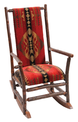 Natural Hickory Log Rocking Chair with Upholstered Seat & Back - Rustic Deco Incorporated