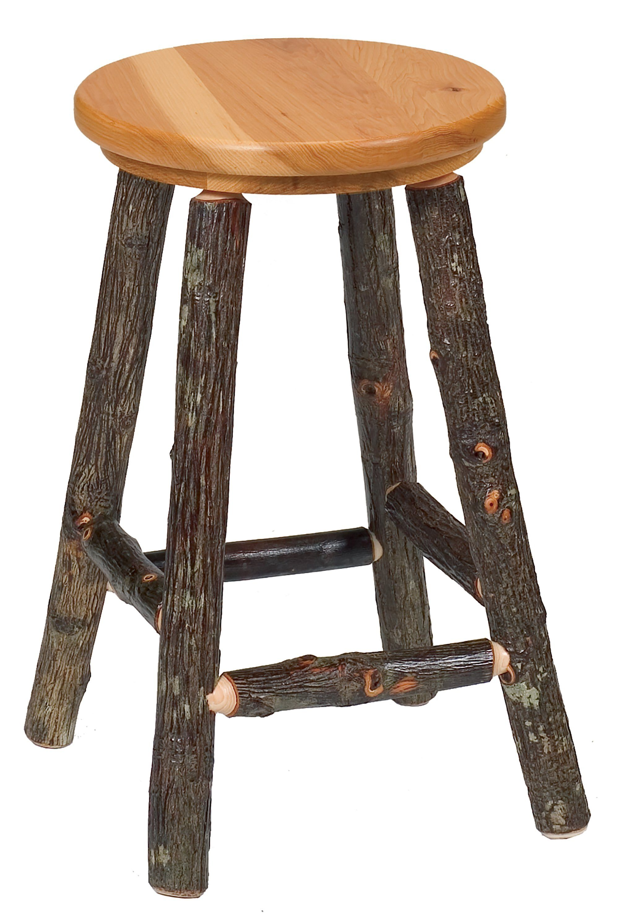 Magnificent Natural Hickory Log Round Counter Stool 24 High Wood Seat Non Swivel Bralicious Painted Fabric Chair Ideas Braliciousco