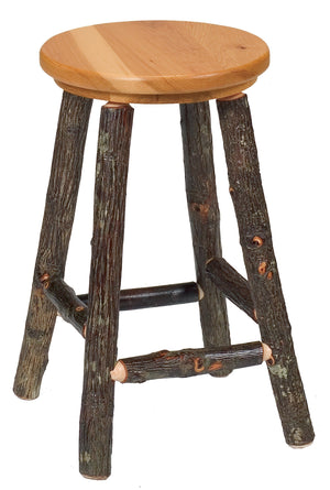 "Natural Hickory Log Round Counter Stool - 24"" high - Wood Seat - (Non-Swivel) Stool Fireside Lodge Antique Oak - Wood Seat"