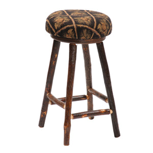 Natural Hickory Log Round Counter Stool - Upholstered - Handmade USA - Rustic Deco Incorporated