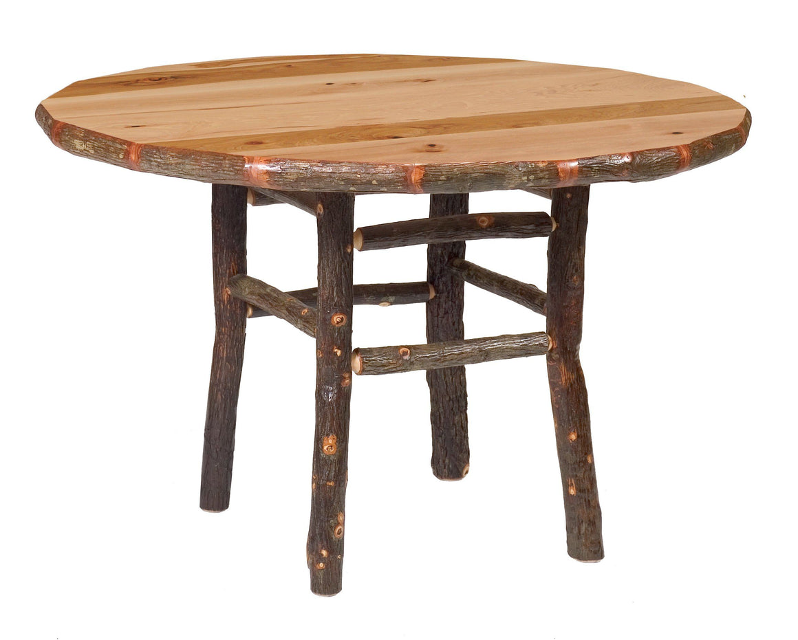 Natural Hickory Log Round Dining Table - 42-48-54 Inch - With Armor Finish Dining Table Fireside Lodge 42-Inch Natural Hickory - Armor Finish