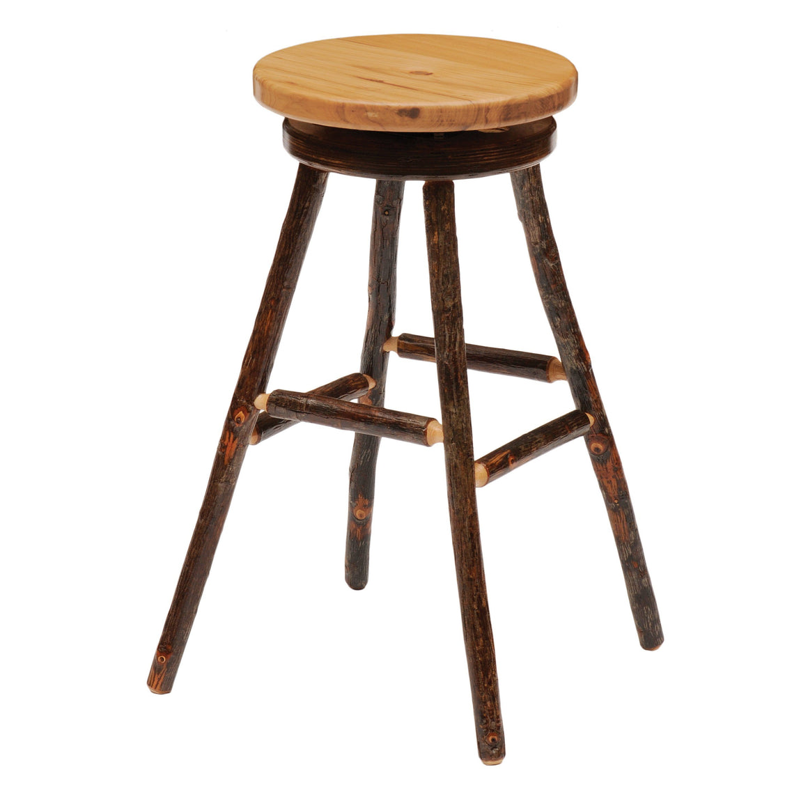 Natural Hickory Log Round Swivel Counter Stool - Wood Seat -24-Inch - Rustic Deco Incorporated