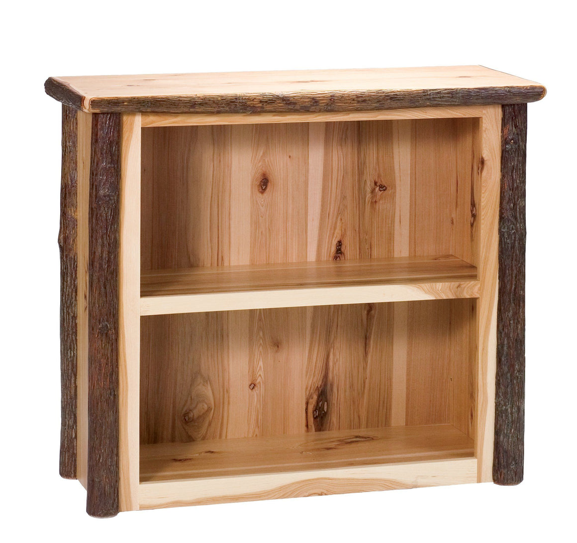 Natural Hickory Log Small Bookshelf - Standard Finish - Rustic Deco Incorporated