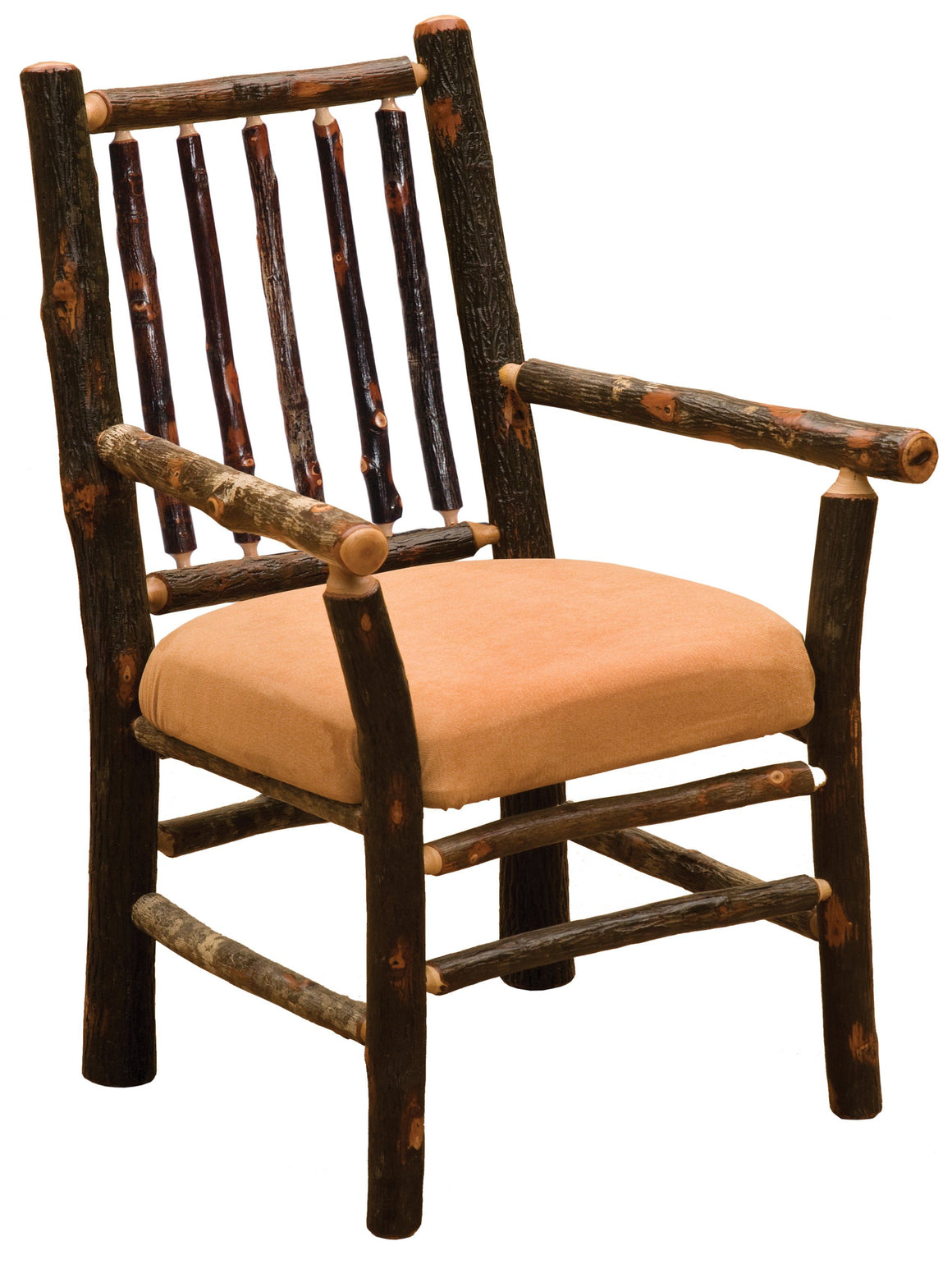 Natural Hickory Log Spoke Back Arm Chair - Upholstered Seat - Standard Finish - Rustic Deco Incorporated
