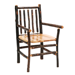 Natural Hickory Log Spoke Back Arm Chair - Wood Seat - Standard Finish - Rustic Deco Incorporated
