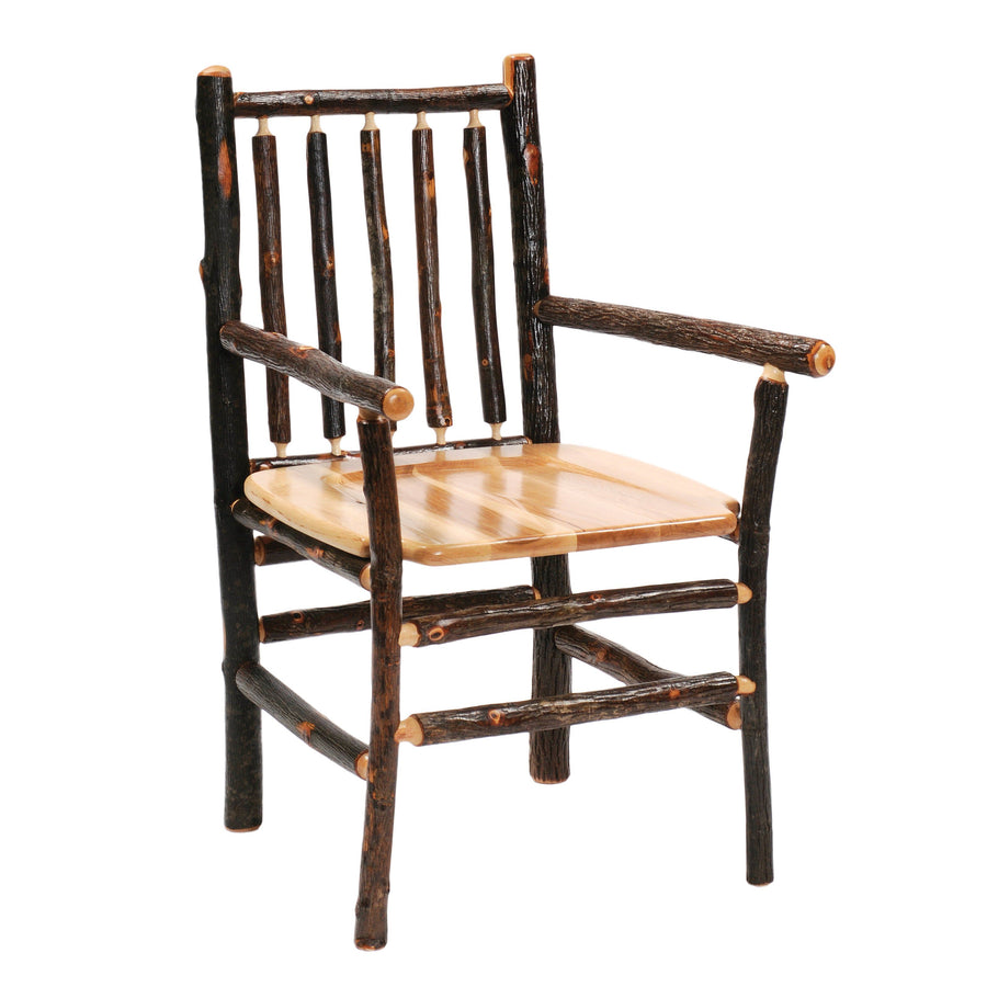Natural Hickory Log Spoke Back Arm Chair - Wood Seat - Standard Finish Chair Fireside Lodge Antique Oak Seat