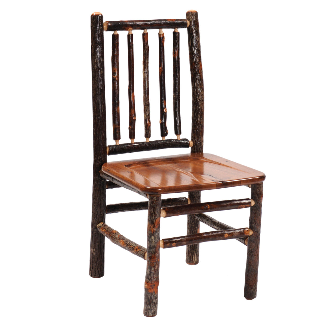 Natural Hickory Log Spoke Back Side Chair - Wood Seat - Standard Finish Chair Fireside Lodge Natural Hickory Seat