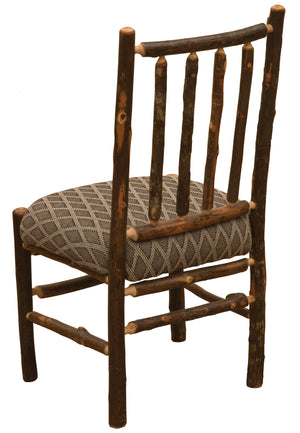 Natural Hickory Log Spoke Side Chair - Upholstered Seat - Standard Finish-Rustic Deco Incorporated