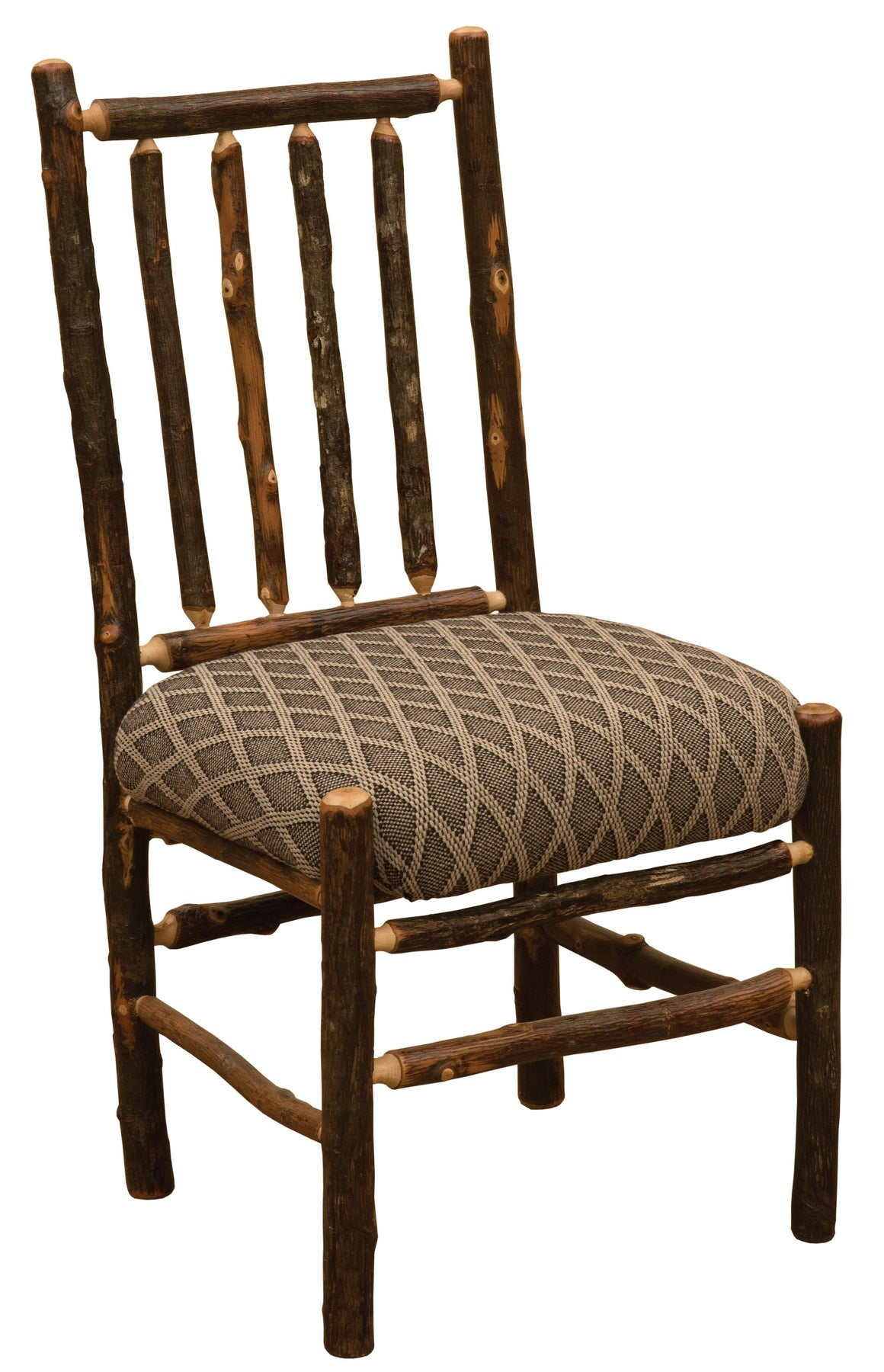 Natural Hickory Log Spoke Side Chair - Upholstered Seat - Standard Finish - Rustic Deco Incorporated