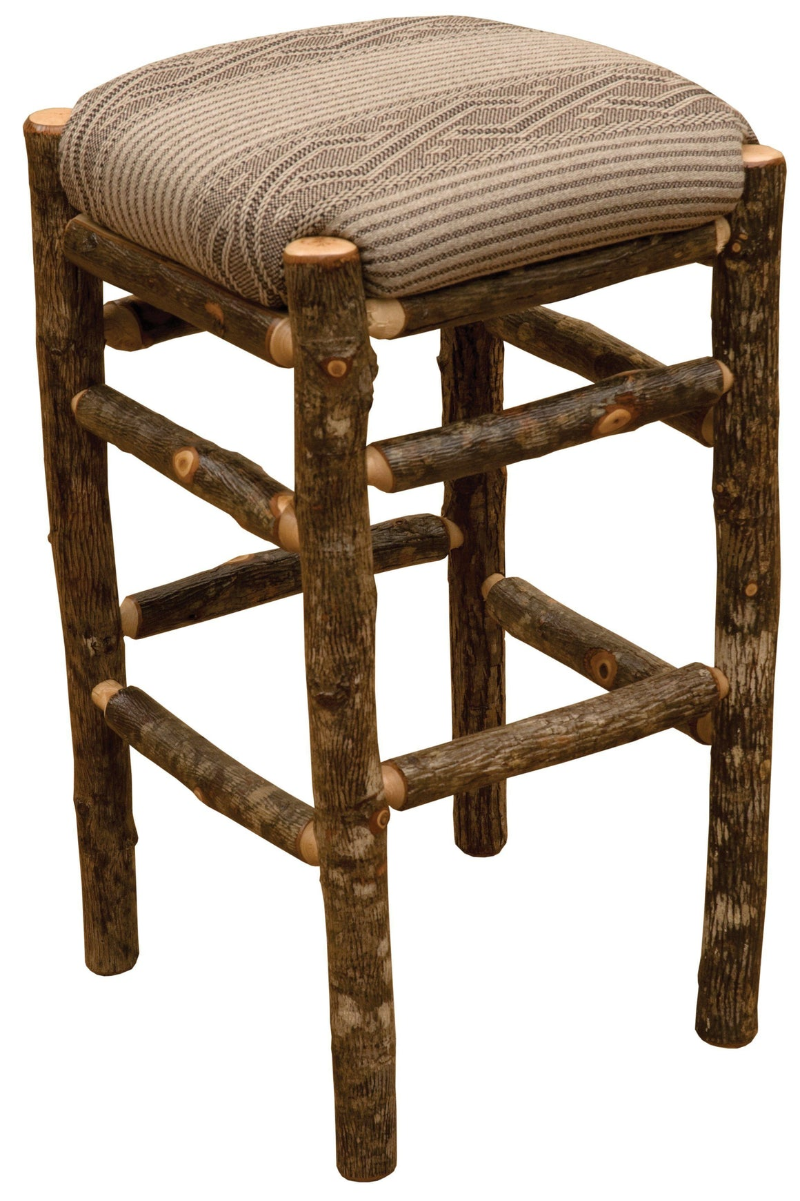 "Natural Hickory Log Square Backless Barstool Stool Upholstered - 30"" high - Rustic Deco Incorporated"