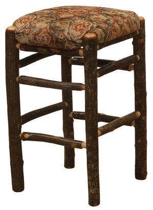 "Natural Hickory Log Square Backless Counter Stool with Upholstered Seat - 24"" - Rustic Deco Incorporated"