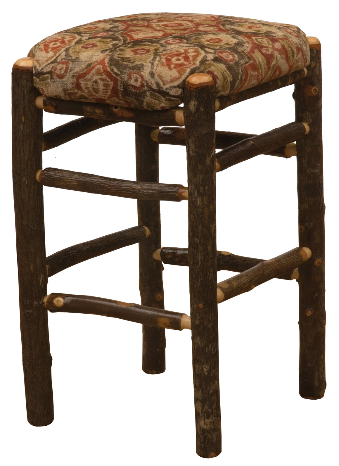 "Natural Hickory Log Square Backless Counter Stool with Upholstered Seat - 24""-Rustic Deco Incorporated"