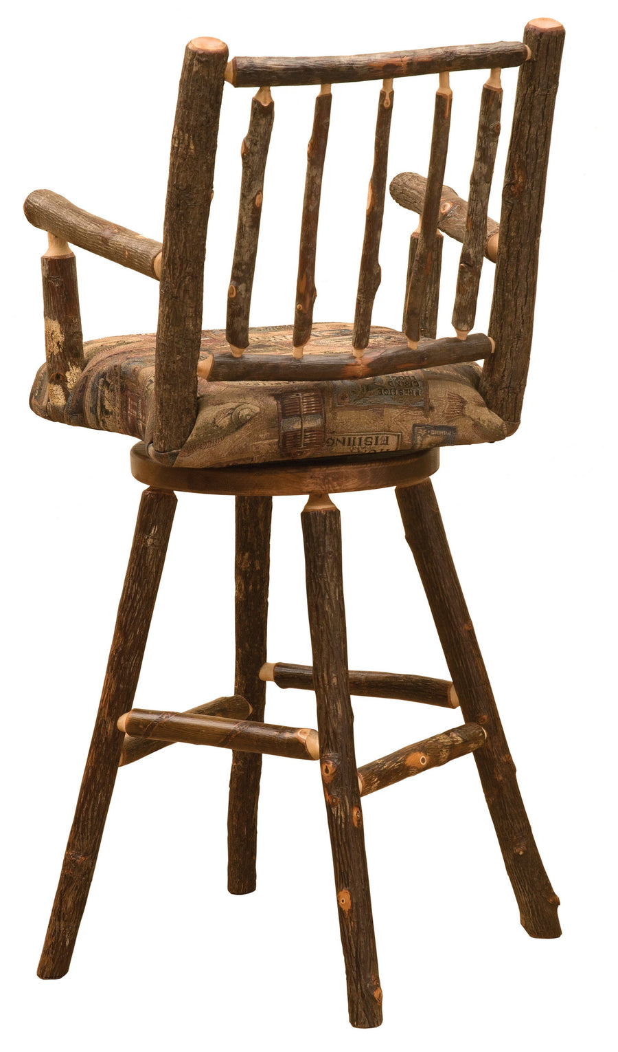 "Natural Hickory Log Swivel Seat - Upholstered - 30"" - Barstool-Rustic Deco Incorporated"