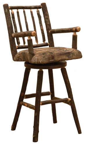 "Natural Hickory Log Swivel Bar stool with Arms and Upholstered Seat - 30"" - Standard Finish Stool Fireside Lodge Customer's Own Material"