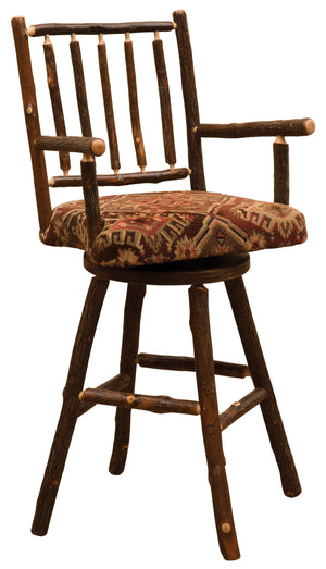 "Natural Hickory Log Swivel Counter Stool with Arms and Upholstered Seat - 24"" - Rustic Deco Incorporated"