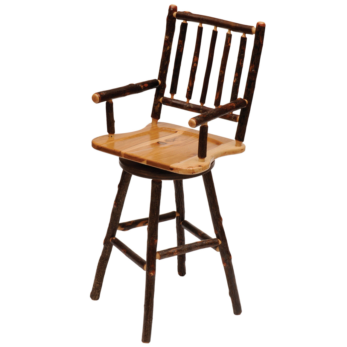 Natural Hickory Log Swivel Counter Stool with Arms - Wood Seat -24-Inch Stool Fireside Lodge Antique Oak - Wood Seat