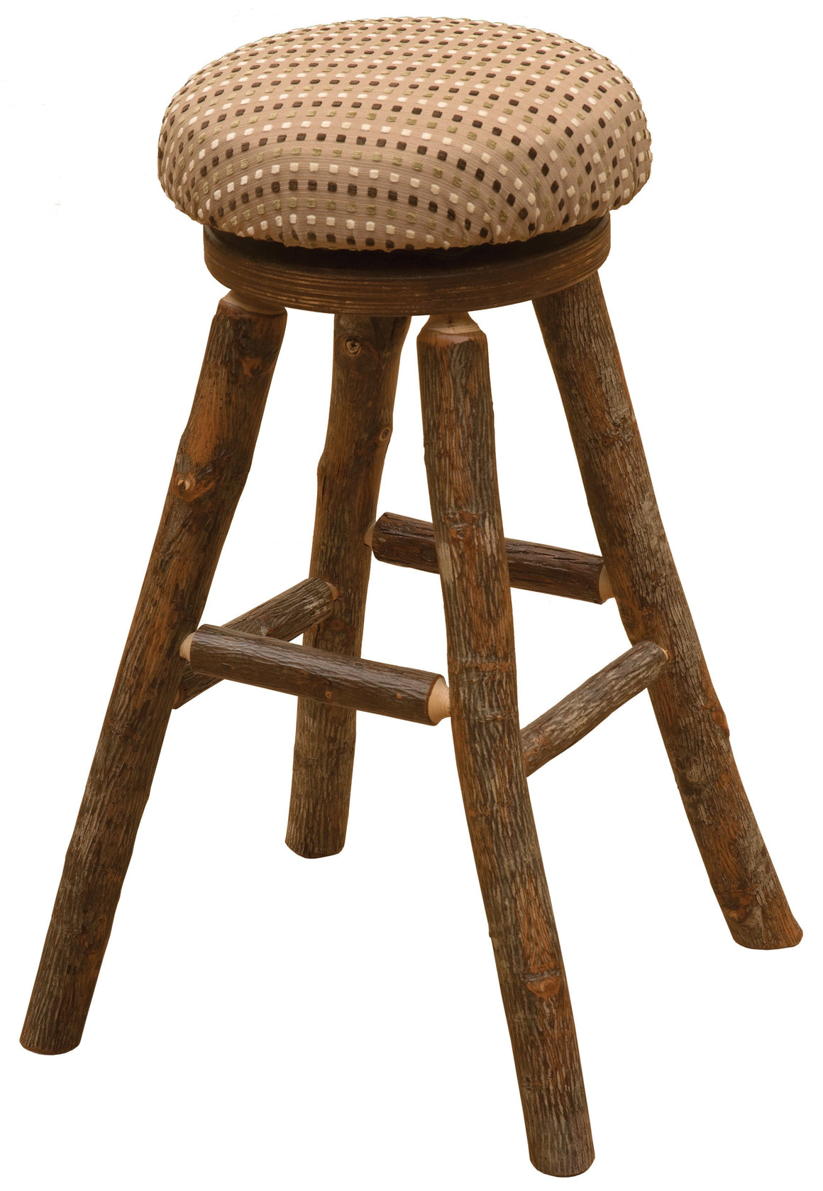 "Natural Hickory Log Swivel Round Counter Stool with Upholstered Seat - 24""-Rustic Deco Incorporated"