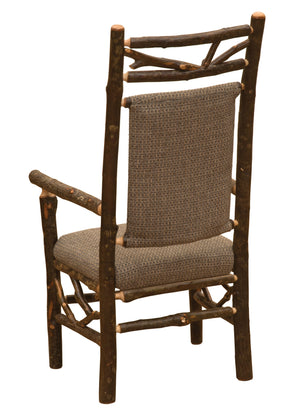 Natural Hickory Log Twig Upholstered Back Arm Chair - Upholstered Seat - Standard Finish Chair Fireside Lodge