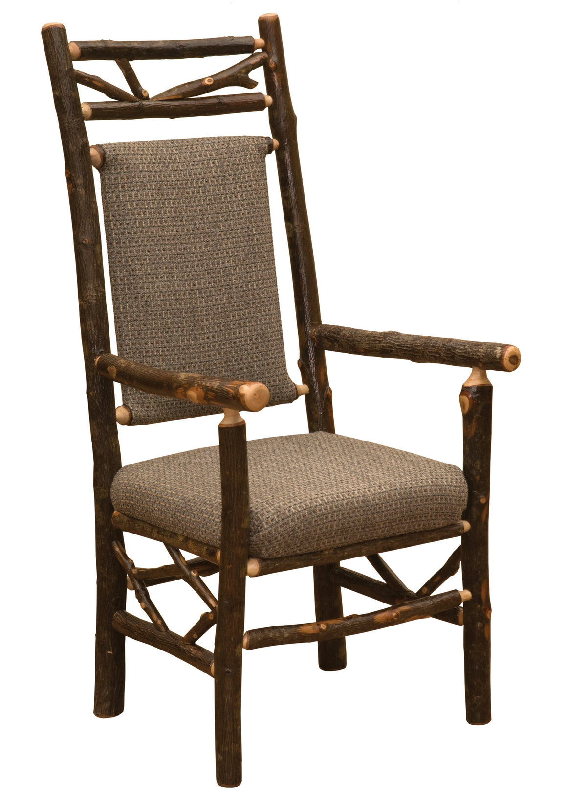 Natural Hickory Log Twig Upholstered Back Arm Chair - Upholstered Seat - Standard Finish Chair Fireside Lodge Customer's Own Material