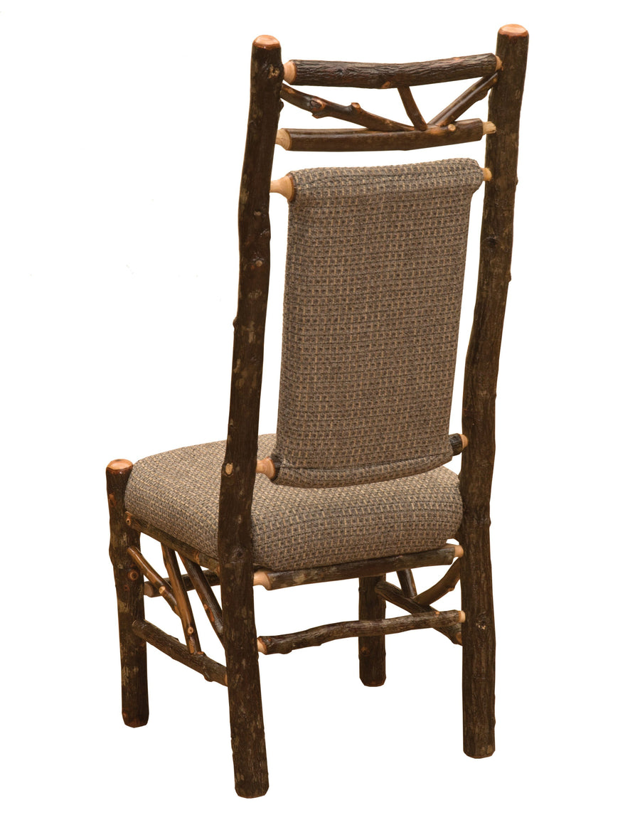 Natural Hickory Log Twig Upholstered Back Side Chair - Standard Finish-Rustic Deco Incorporated