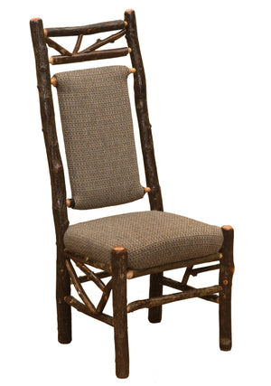Natural Hickory Log Twig Upholstered Back Side Chair - Standard Finish - Rustic Deco Incorporated