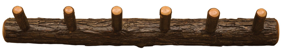 Natural Hickory Log Wall Coat Rack - 24-36-48 Inch- 3 Size Wall Rack or Hooks Fireside Lodge 24-Inch with 4 Pegs