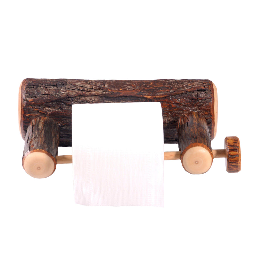Natural Hickory Log Wall-Mounted Toilet Paper Holder-Rustic Deco Incorporated