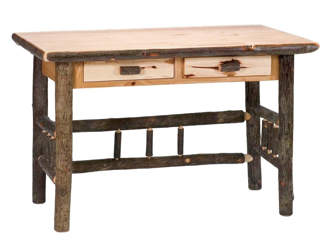 Natural Hickory Log Writing Desk with Two Drawers - Armor Finish - Rustic Deco Incorporated