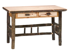 Authentic Natural Hickory Log Writing Desk - Two Drawers - Custom USA - Rustic Deco Incorporated