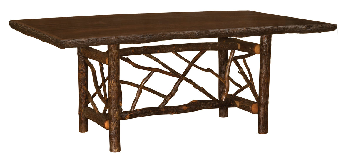 Natural Hickory Twig Log Dining Table - 5-6-7-8 Foot - Armor Finish Dining Table Fireside Lodge 5-Foot Natural Hickory - Armor Finish