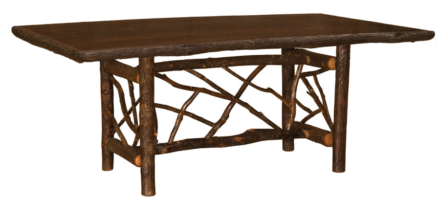 Natural Hickory Twig Log Dining Table - Ornate Bark On Legs - Custom Sizes - Rustic Deco Incorporated