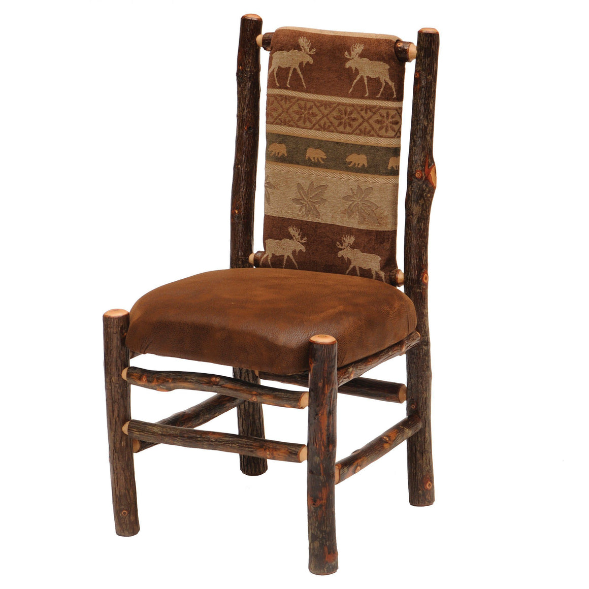 Natural Upholstered Back Side Chair - Standard Finish - Rustic Deco Incorporated