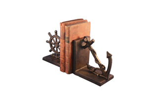 Nautical Anchor & Ship's Wheel Bookends - Cast Iron Metal Sculpture - Rustic Deco Incorporated