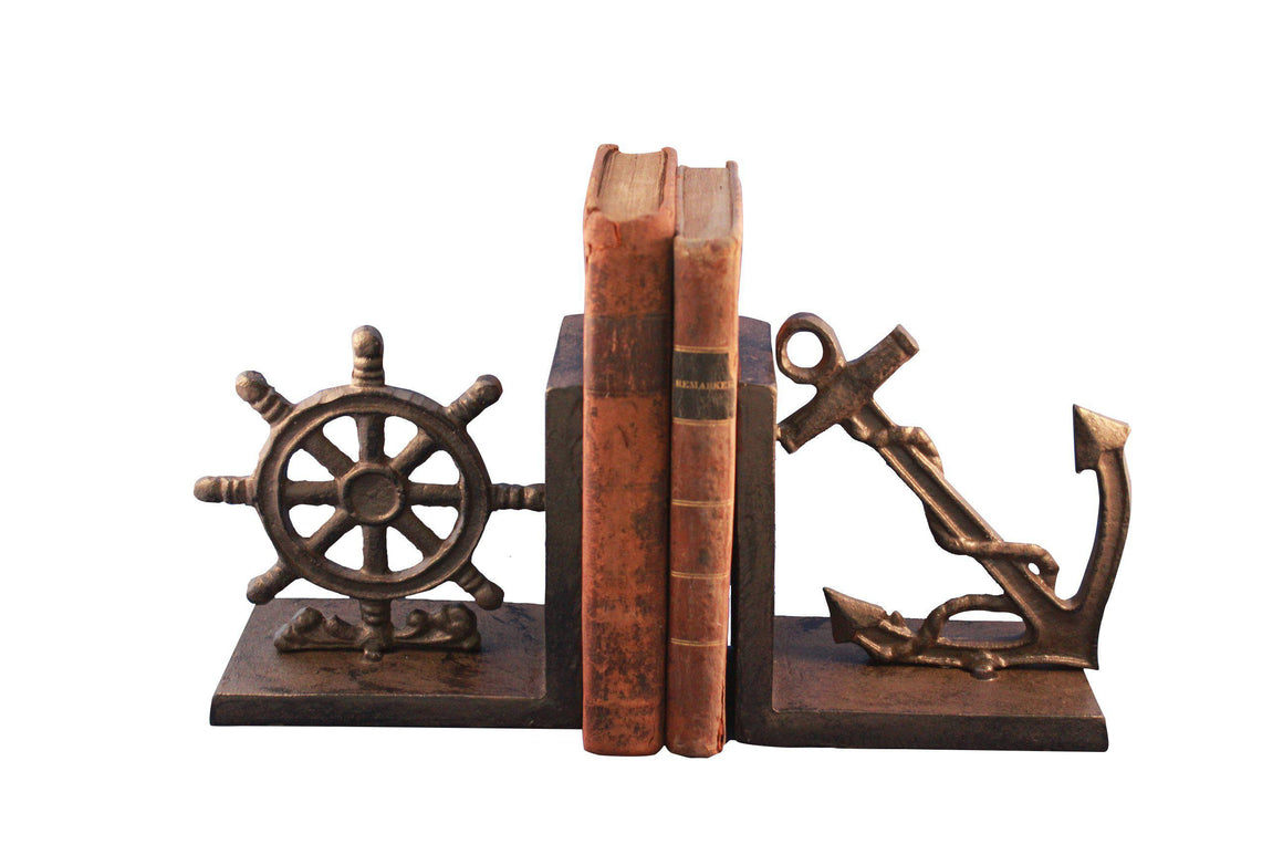 Nautical Anchor & Ship's Wheel Bookends - Cast Iron Bookends Rustic Deco